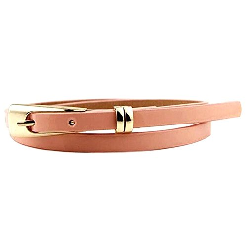 Froomer Women Skinny Waist Belt Thin Leather Waistband Strap Pink