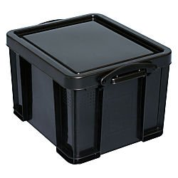Really Useful Boxes(R) 95% Recycled Storage Box, 32 Liter, 19in. x 14in. x 12in., Black