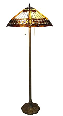 1908 studios amberjack tiffany floor lamp stained glass for 1908 studios tiffany blue dragonfly floor lamp