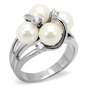 RIGHT HAND RING - Quadruple White Pearl Ring in High Polished Stainless Steel Cluster Setting