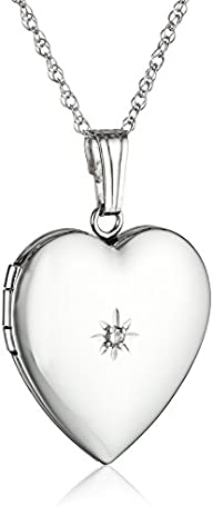 14k White Gold Heart Locket Necklace…