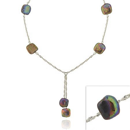 Sterling Silver .925 Iridescent Genuine Freshwater Cultured Square White Coin Pearl Twist D-cut Lariat Necklace