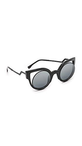 fendi-womens-round-cutout-sunglasses-matte-shiny-black-dark-grey-one-size
