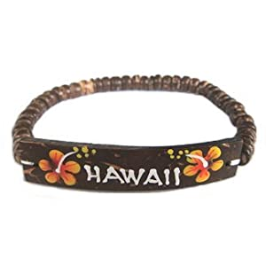 Amazon.com: Hawaiian Jewelry Coconut Hawaii Bracelet - Orange Flowers