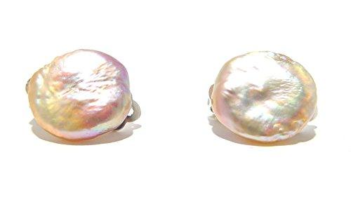Haidea Gallery Milano Brera Orecchini a lobo senza foro modello 1 Coin con Perla Scaramazza Barocca Rosè freshwater naturale e Clips Argento 925