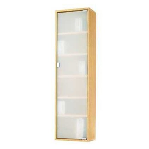Contemporary Oak Wood & Glass Storage Cabinet Tower for Home or Office