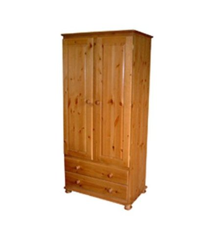 Wye Pine Woodland 2 Drawer Wardrobe - Finish: Lacquer - Stain: Waterbased