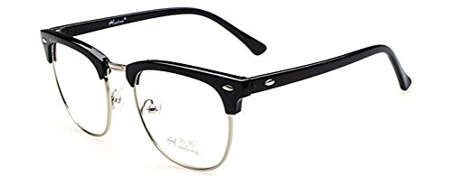 GAMT Men's Retro Metal Half Frame Glasses Black (Spectacles Frame compare prices)