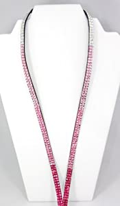 New Four Color Pink Fade Rhinestone Lanyard-Fuschia to Medium Pink to Pale Pink to Iridescent Rainbow Rhinestones-Perfect Nurse Appreciation,Teacher,or Graduation Gift !!!Display your Employer ID with Pride!!!Also a Beautiful Way to Support Susan G Komen for the Cure-THINK PINK.Perfect Nurse Appreciation,Teacher,or Graduation Gift !!!Display your Employer ID with Pride!!!-