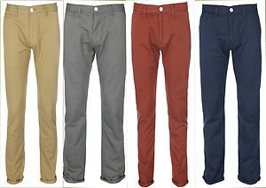 New Mens Chinos - Skinny Fit Trouser Jeans - DARK Grey-28