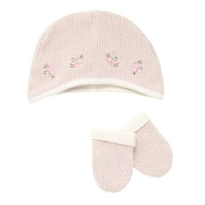 J by Jasper Conran-Baby's pale pink bobble textured hat and mittens-12-18 months