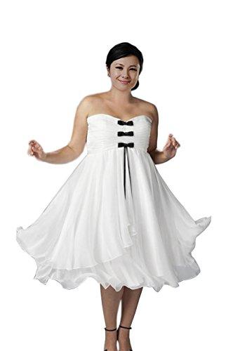 771f0fc84b ISHOWDresses Sweetheart Ruffles Tea-length Chiffon Wedding Dress Plus size  (17 Plus)