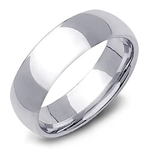High-Polished Sterling Silver Wedding Band Ring 7mm - Size 10