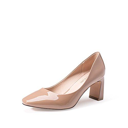 Tacchi alti autunno/Scarpe col tacco grosso/Asakuchi scarpe a punta/Grezzo con il minimalista mette piede scarpe-C Lunghezza piede=24.3CM(9.6Inch)
