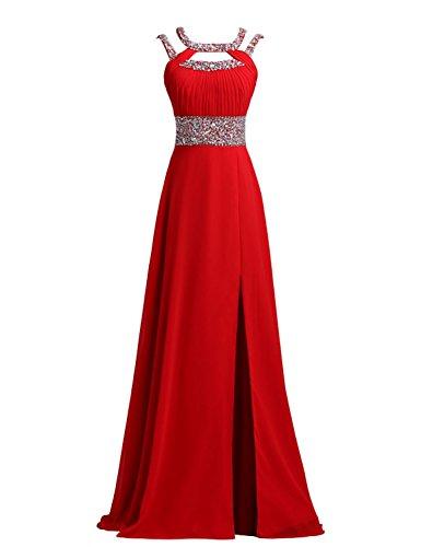 SeasonMall Women's A Line Scoop Prom Dress Open Back Size 4 US Red