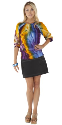 1 World Sarongs Womens Tie Dye Multi Colored Long Sleeve Top Cover-Up In Sm