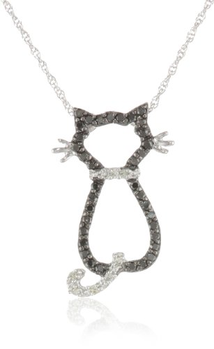 XPY 14k White Gold Black and White Diamond Cat Pendant (1/5 cttw), 18""