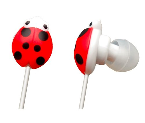 (Coupon Sale!)Sikkis Headphones Animal Print H04 (Beatle) - Red -It Is Lovely And Artistic! (Compatible With Any Device With A Standard 3.5Mm Headphone Socket)