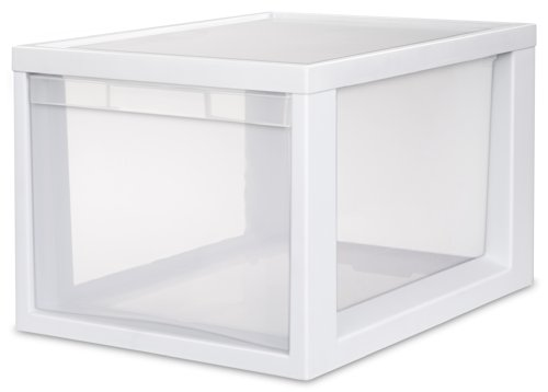 Sterilite 23658004 Medium Tall Modular Drawer, White Frame with Clear Drawers, 4-Pack (Stackable Storage Drawers compare prices)