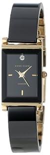 Anne Klein Womens AK1260BKBK Diamond Dial Black Ceramic