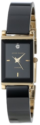 Anne Klein Women's AK/1260BKBK Diamond Dial Black Ceramic Bangle Gold-Tone Watch