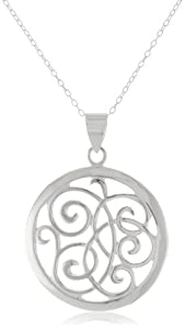 Sterling Silver Open Swirl Circle Pendant Necklace , 18""