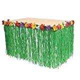 Adorox 1 Table Skirt Hawaiian Luau Hibiscus Green Table Skirt 9ft Party Decorations