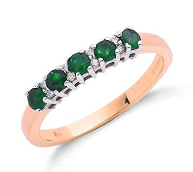 9ct Yellow Gold Real Emerald and Diamond Eternity Ring
