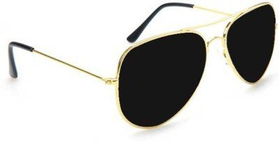 golden frame aviator sunglasses  Aviator sunglasses black glass with golden frame: Amazon.in ...