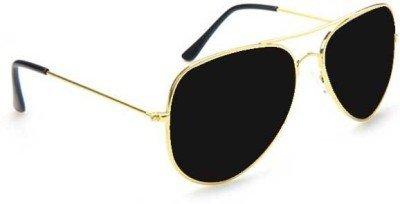golden frame aviator sunglasses  Aviator sunglasses black glass with golden frame: Amazon.in ...