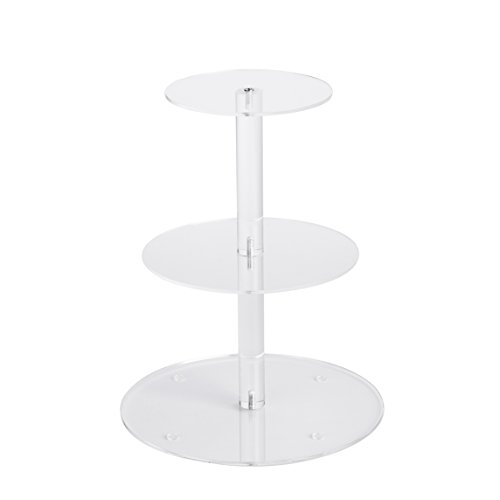 YestBuy 3 Tier Round Wedding Party Acrylic Cake Cupcake Tree Tower Maypole Display Stand 1 pc /Pack (3 Tier Round(6