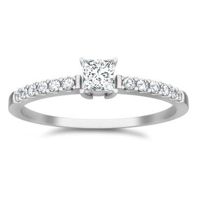 0.58 Carat Affordable Engagement Ring with Princess cut Diamond on 14K White gold