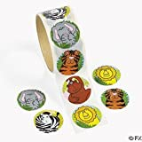 100 Zoo Animal Stickers, 1 Roll