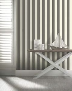 Opera Linen Stripe Wallpaper - Black and White by New A-Brend