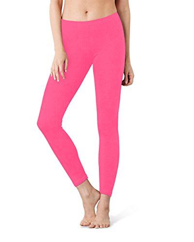 Allure Culture Women's Solid Basic Full Length Leggings (Fuschia, L-XL)