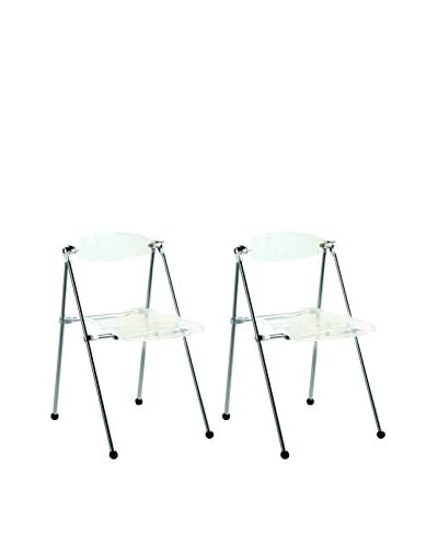 Manhattan Living Set of 2 Acrylic Folding Chairs, Clear