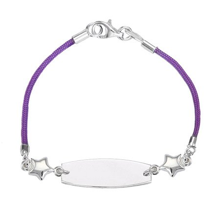 Kid's Purple Silk Cord Star Charm ID Bracelet