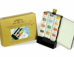 Winsor & Newton 12 Half Pan Assorted Water Colour Paints in a Heavyweight Enamelled Box