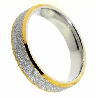 6MM Polished Stainless Steel Ring With Gold Color Plated Edges and Center Covered in Stardust