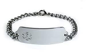 HEART ATTACK Medical ID Alert Bracelet with Embossed emblem from stainless steel. Style: Classic wide, premium series.