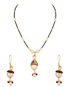 Pearl Necklace Set with Golden Capped Pearl Drop; Enamel; Bead Chain available at Amazon for Rs.350