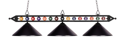 Landmark 190-1-BK-M Designer Classics 3-Light Billiard Light, 14-Inch, Matte Black with Metal Shades