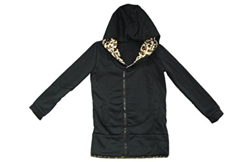 Womens Girls Autumn Winter Thick Long Sleeve Leopard Hoodie Coat Black Medium front-430674