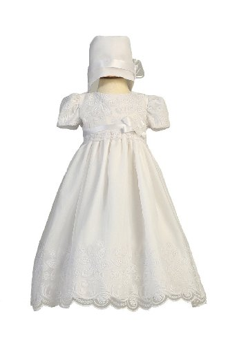 Long White Classy Embroidered Organza Baby Girl Christening Baptism Special Occasion Newborn Dress Gown with Matching Hat - M (6-12 Month, 13-17 lbs)