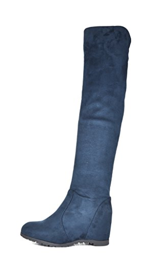 DREAM PAIRS LEGGY Women's Fashion Casual Pull On Slouchy Over The Knee High Boots Blue Size 10