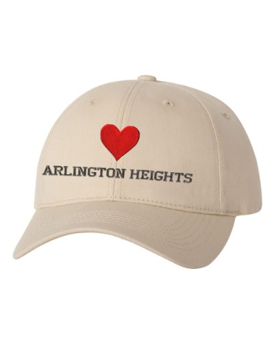 I Love Heart Arlington Heights Il City Embroidered Cap Hat Khaki (City Of Arlington Heights Il)