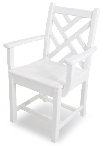 POLYWOOD CDD200WH Chippendale Dining Arm Chair, White