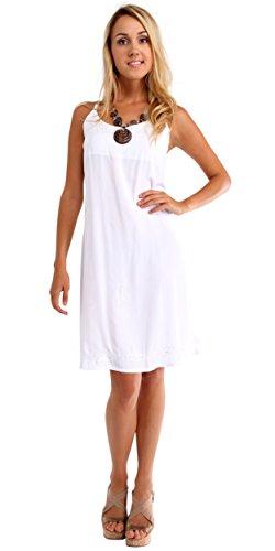 1 World Sarongs Womens Lined Sundress in White - Medium