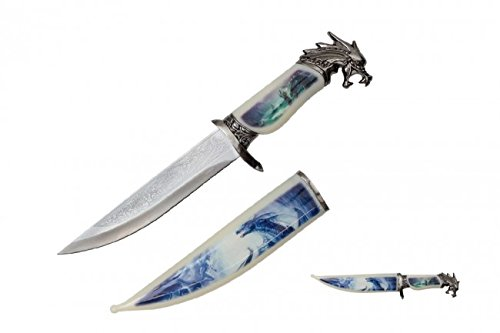 """13.5"""" Collector's Wildlife Collection Hunting Bowie Knife The Mystical Magical Fire Dragon With Decorative Sheath & Handel"""