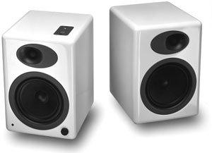 A5 Premium Powered Bookshelf Speakers (White)